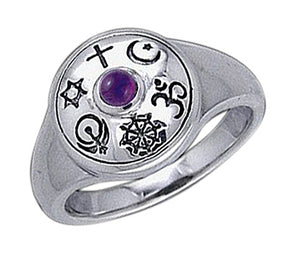 Sterling Silver Shield Of Faiths Ring with Amethyst