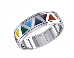 Sterling Silver Rainbow Triangles Spinner Ring Band