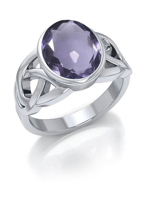 Sterling Silver Celtic Weave Ring with Amethyst Cabochon