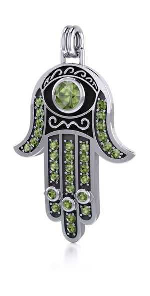 Sterling Silver Hamsa Hand Of Fatima Pendant with Peridot