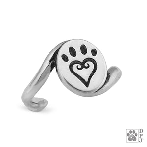 Sterling Silver Etched in My Heart Dog Paw Print Toe Ring