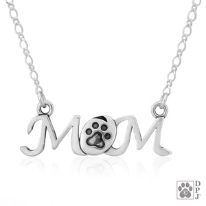 "Sterling Silver 16 inch ""Mom"" with Dog Paw Print Pendant Necklace"