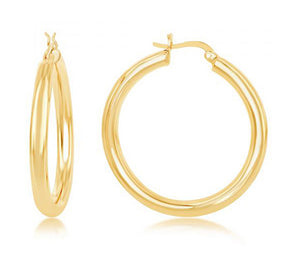 Sterling Silver Gold Color 40mm High Polished Hoop Earrings 4mm Wide