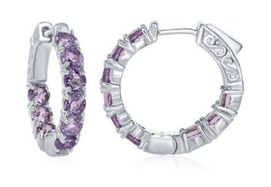 Sterling Silver 24mm Inside-out Amethyst Gemstone Hoop Earring 4mm Wide