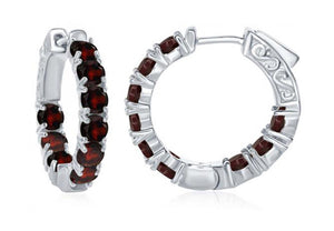 Sterling Silver 24mm Inside-out Garnet Gemstone Hoop Earring 4mm Wide