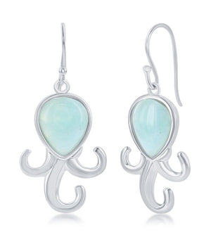 Sterling Silver Larimar Octopus Earrings