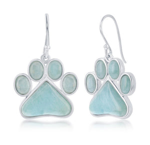 Sterling Silver Larimar Paw Print Earrings