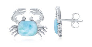 Sterling Silver Larimar Crab Post Earrings