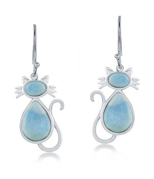 Sterling Silver Larimar Cat Earrings