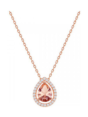 Sterling Silver Rose Gold Color Pear-shape Morganite Cubic Zirconia with White Cubic Zirconia Pendant