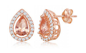 Sterling Silver Rose Gold Color Pear-shape Morganite Cubic Zirconia with White Cubic Zirconia Earrings