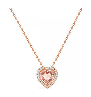 Sterling Silver Rose Gold Color Heart-shape Morganite Cubic Zirconia with White Cubic Zirconia Pendant