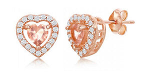 Sterling Silver Rose Gold Color Heart-shape Morganite Cubic Zirconia with White Cubic Zirconia Earrings