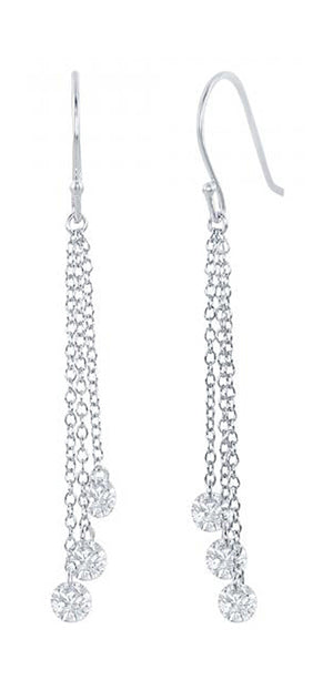 Sterling Silver Triple White Cubic Zirconia Dangle Earrings