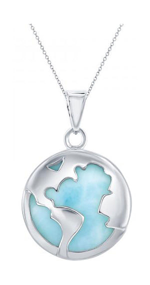Sterling Silver Larimar World Globe Pendant
