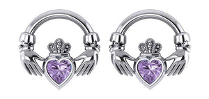 Sterling Silver Claddagh Post Earrings with Amethyst Heart