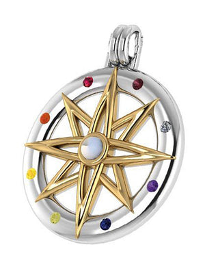 Sterling Silver Two Tone Compass Star Pendant with Rainbow Moonstone