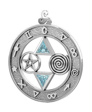 Sterling Silver Talisman Pendant with Blue Topaz Trillions