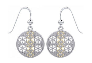 Sterling Silver and Gold Tone Mandala Flower Of Life Earrings