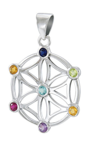 Sterling Silver Mandala Flower Of Life Pendant with Chakra Stones