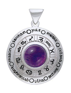 Sterling Silver Amethyst Astrology Wheel Of the Year Pendant