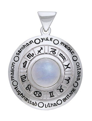 Sterling Silver Rainbow Moonstone Astrology Wheel Of the Year Pendant
