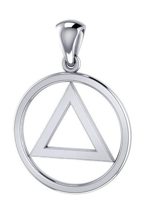 "Sterling Silver Alcoholics Anonymous ""Aa"" Symbol Pendant"