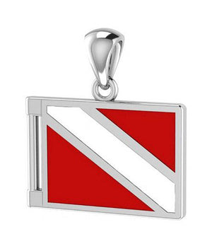 Sterling Silver Red and White Diver Down Flag Pendant