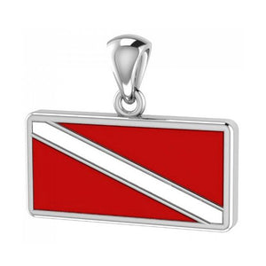 Sterling Silver Large Red and White Diver Down Flag Pendant