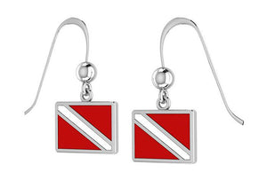 Sterling Silver Red and White Diver Down Flag Earrings