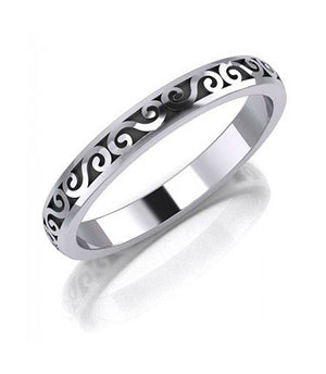 Sterling Silver Band Ring with Scroll Design