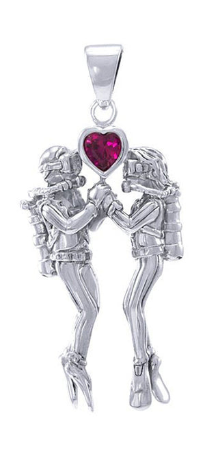 Sterling Silver 3D Scuba Diving Lovers Couple Pendant
