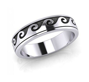Sterling Silver Wave Spinner Band Ring