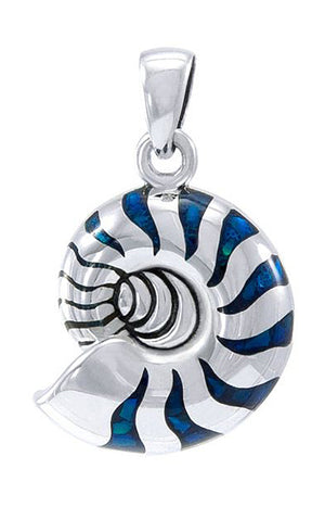 Sterling Silver Nautilus Shell Pendant with Blue Accents