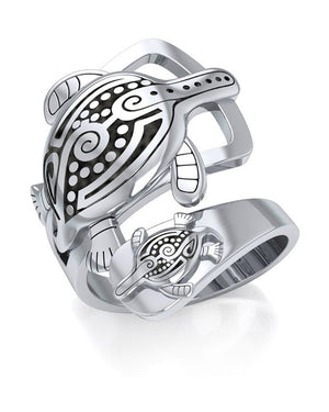 Sterling Silver Mother and Baby Aboriginal Turtles Wrap Around Ring