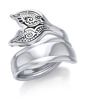 Sterling Silver Aboriginal Whale Tail Wrap Around Spoon Ring