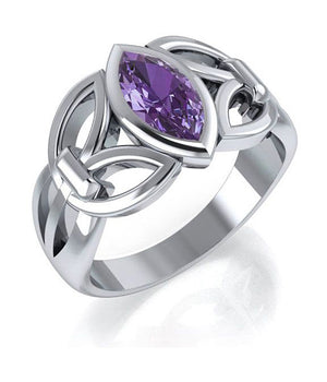 Sterling Silver Marquise Amethyst Ring with Open Sides