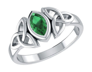 Sterling Silver Green Glass Marquise Ring with Celtic Trinity Knots