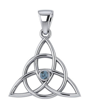 Sterling Silver Celtic Encircled Triquetra Pendant with Blue Topaz