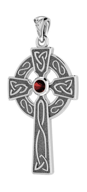 Sterling Silver Celtic Cross Pendant with Garnet Center Stone