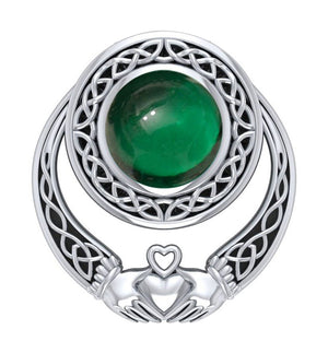 Sterling Silver Celtic Claddagh Pendant Slider with Green Glass Cabochon