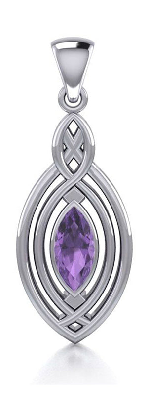 Sterling Silver Marquise Amethyst Pendant with Celtic Twist