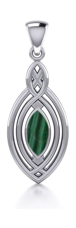 Sterling Silver Marquise Synthetic Malachite Pendant with Celtic Twist