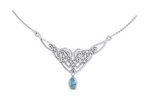 Sterling Silver 16 inch to 18 inch Adjustable Celtic Broken Heart Necklace with Blue Topaz