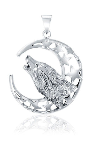 Sterling Silver Howling Wolf with Crescent Moon and Stars Pendant