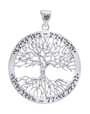 Sterling Silver Wiccan Tree Of Life Pendant