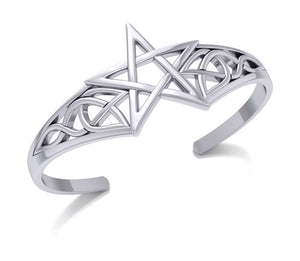 Sterling Silver Pentagram Cuff Bracelet with Celtic Knots