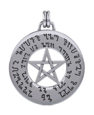 Sterling Silver Round Love Spell Pentacle Medallion Pendant