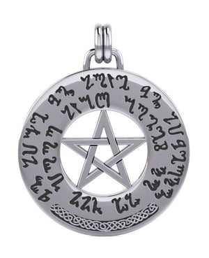 Sterling Silver Round Good Luck Spell Pentacle Medallion Pendant