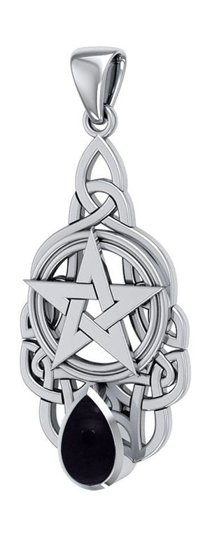 Sterling Silver Pentacle Pendant with Celtic Knots and Synthetic Black Onyx Teardrop